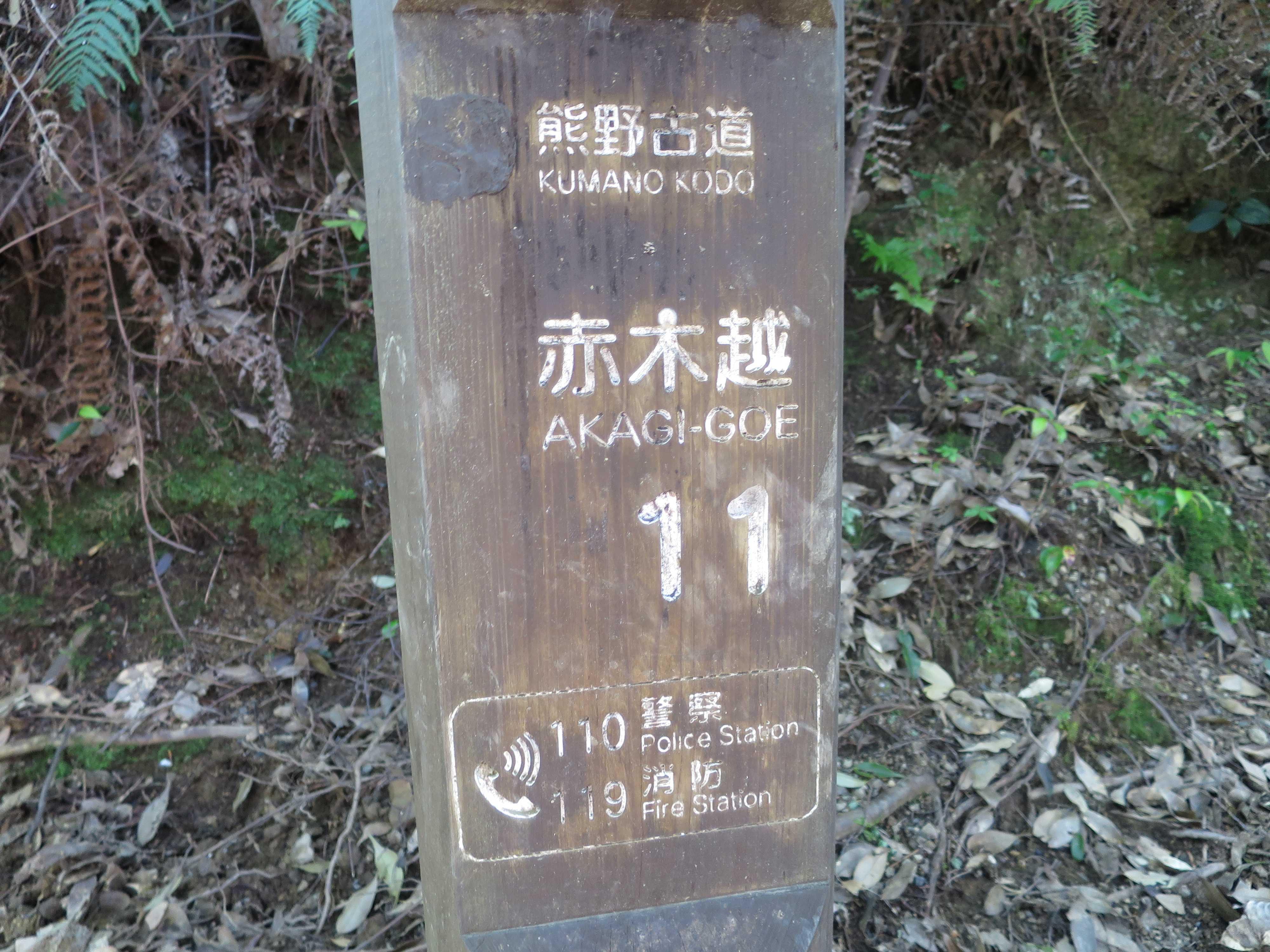 赤木越の木標(番号道標)