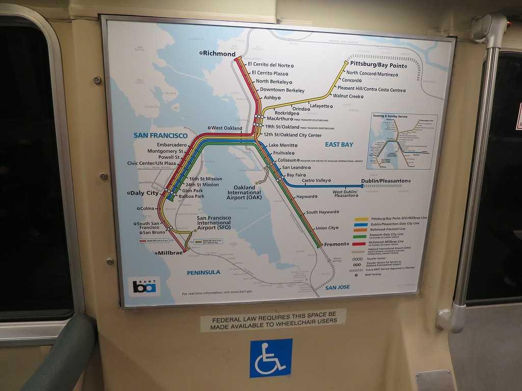 BART/バートの路線図