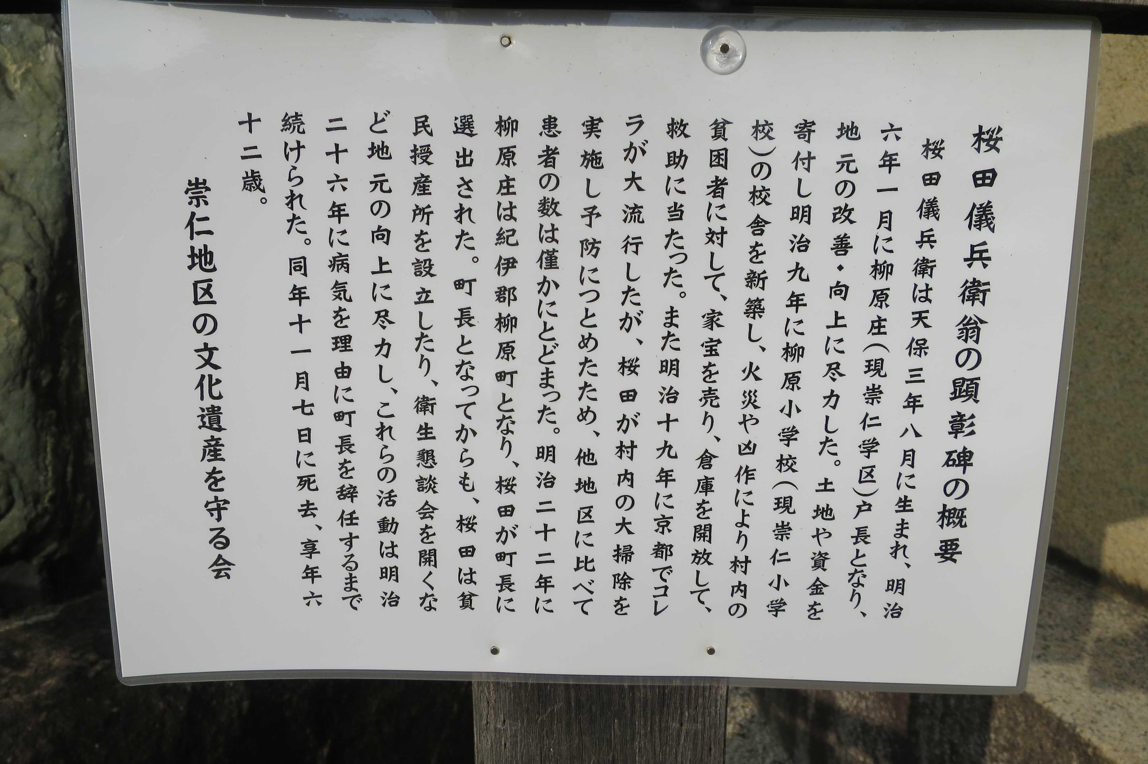 京都・崇仁地区 - 桜田儀兵衛翁の顕彰碑の概要