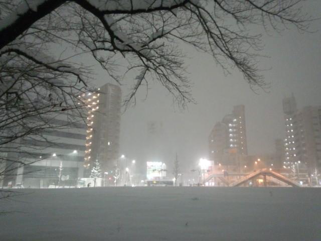 大雪の日の明神町の五差路(東京都八王子市)
