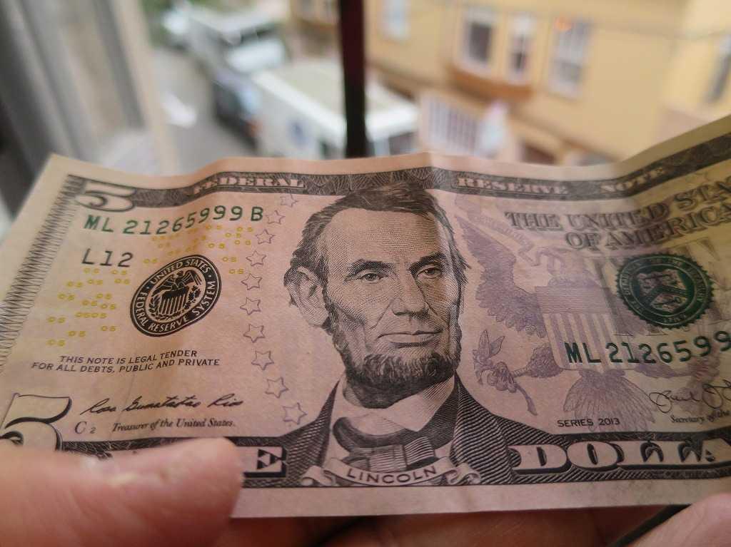 リンカーンの 5ドル札