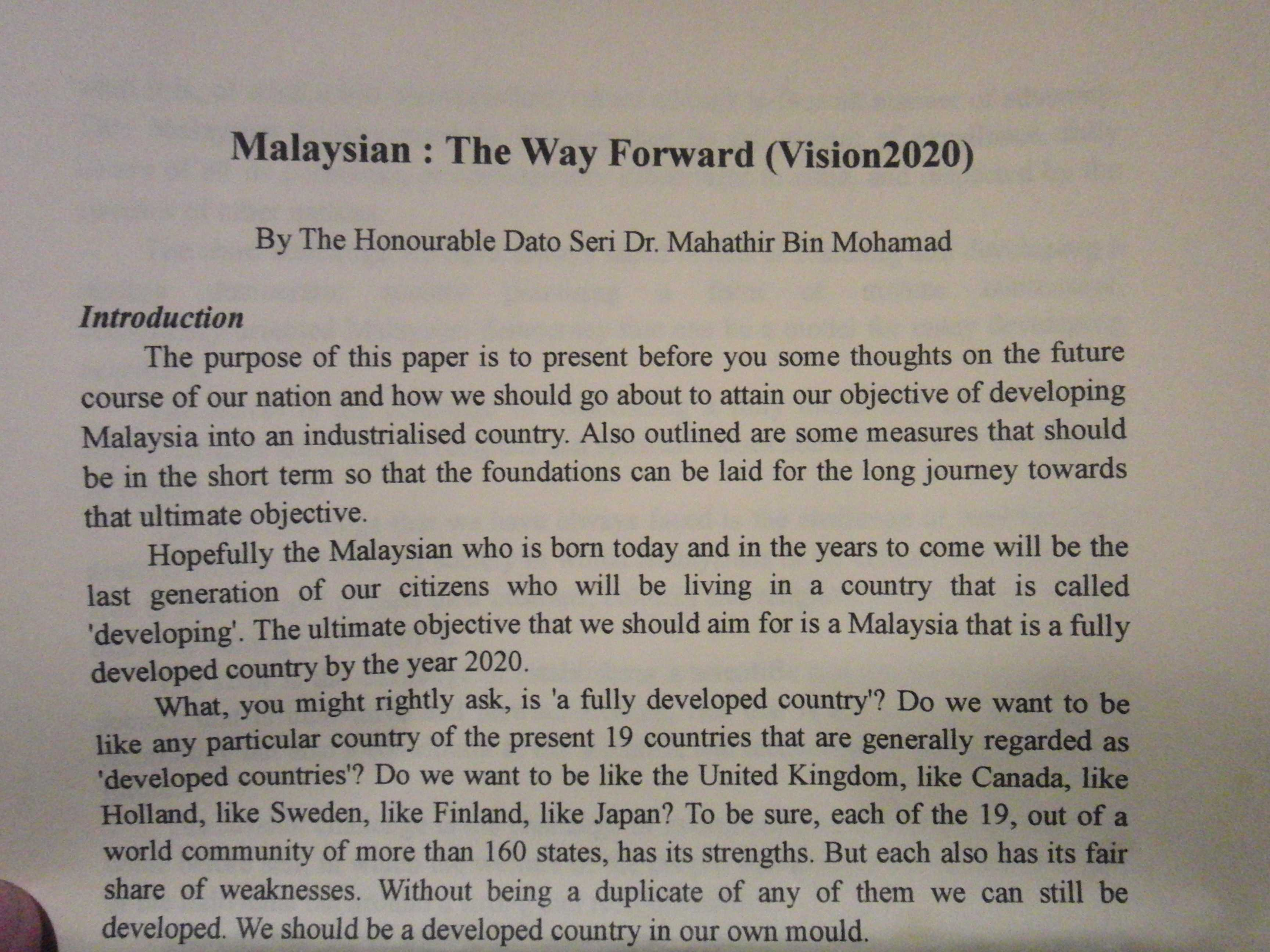 Malaysian: The Way Forward(Vision2020)