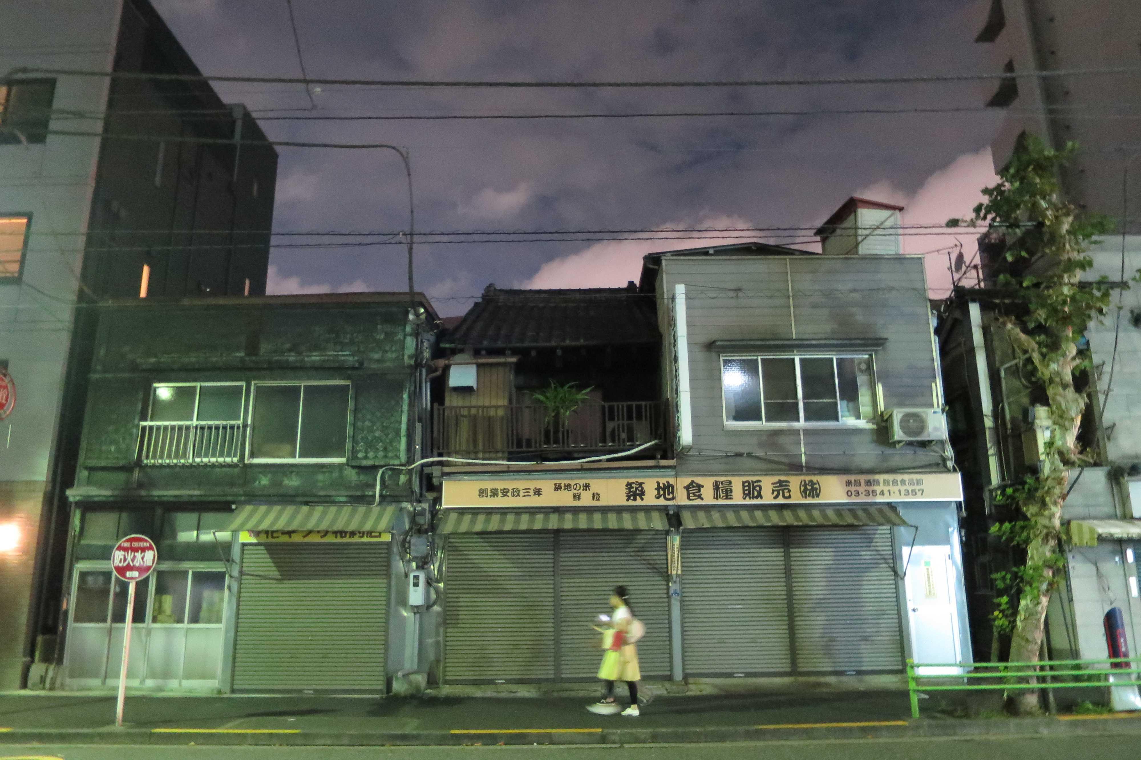 築地エリア - 2軒並びの長屋形式の銅板貼り看板建築(築地食料販売)