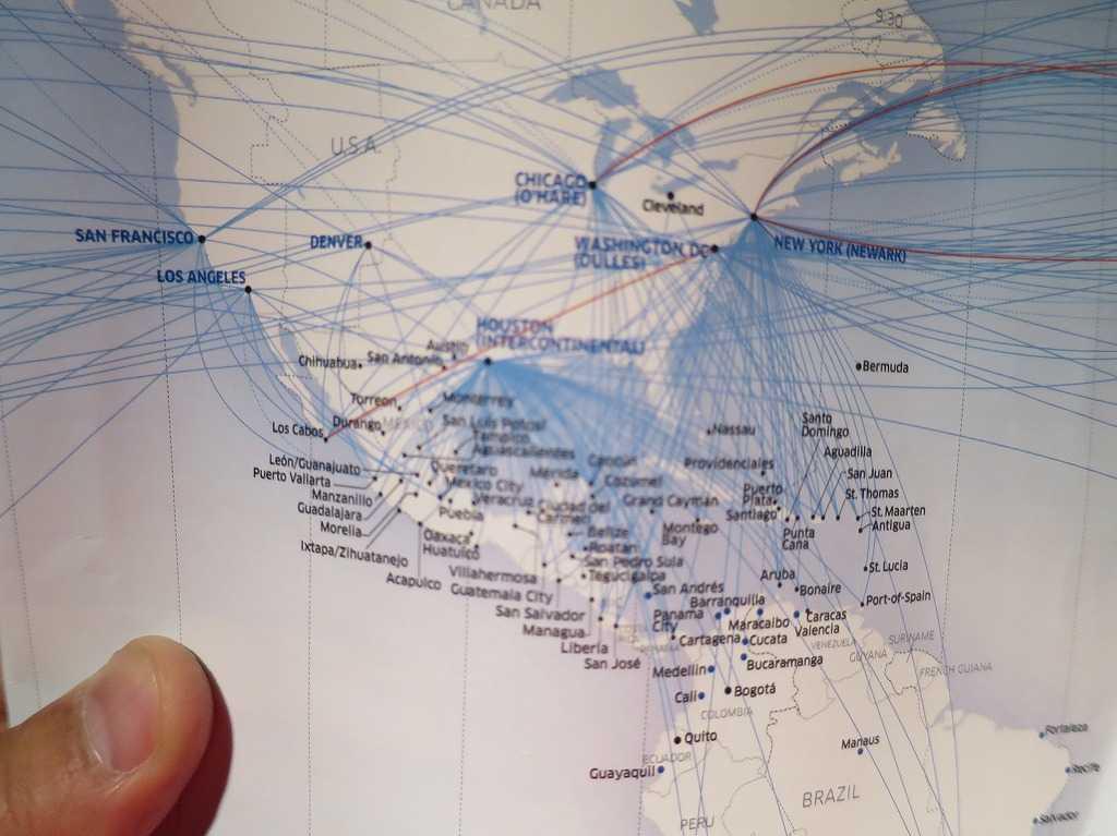 南北アメリカの航空路線