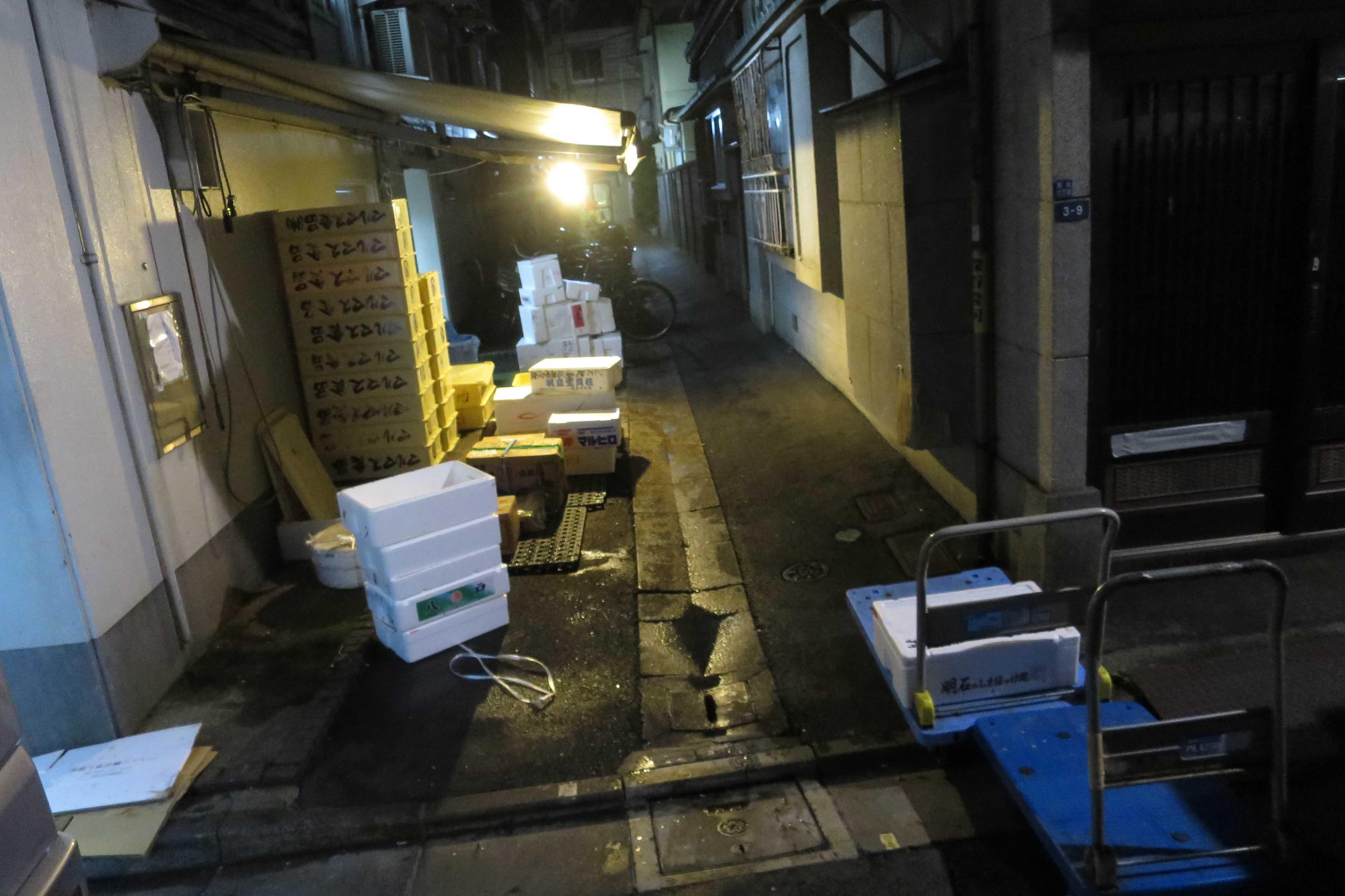 築地エリア - 夜明け前の築地の小路