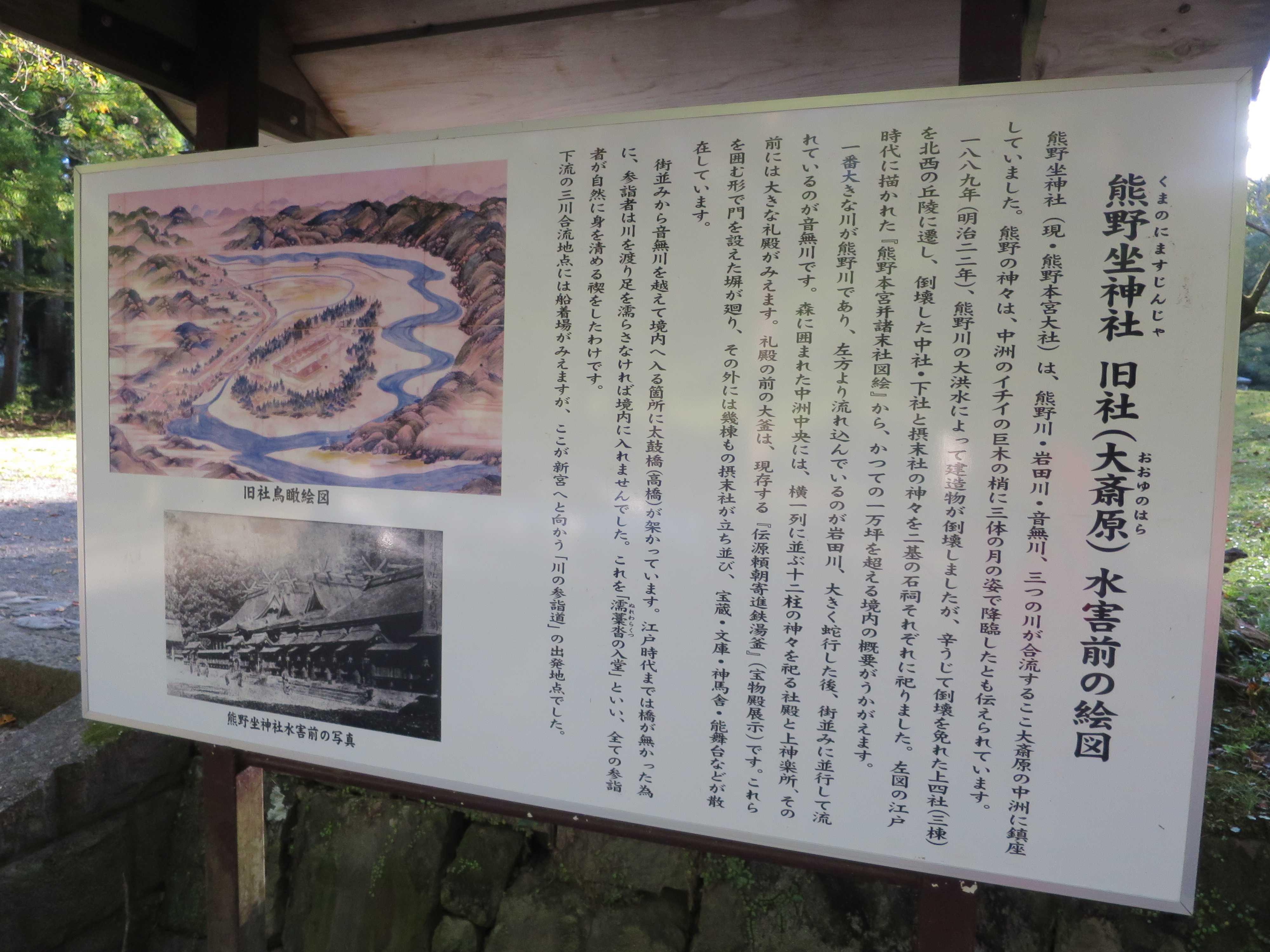 熊野坐神社 旧社(大斎原/おおゆのはら)水害前の絵図