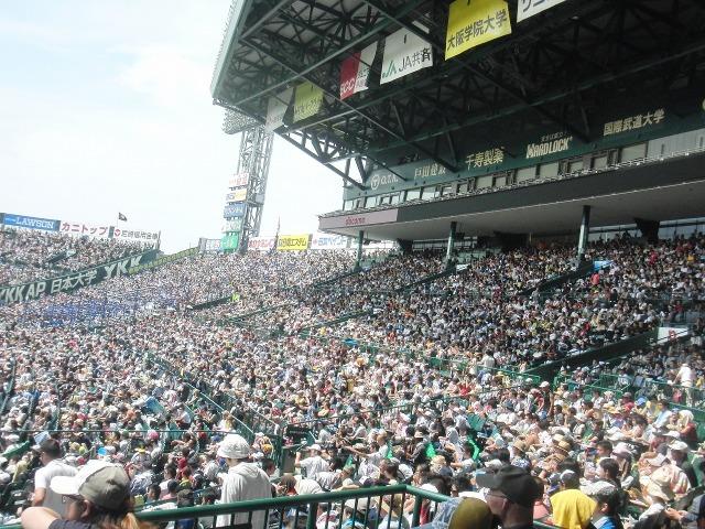 甲子園 - 一塁側スタンドとその奥一塁側アルプススタンド