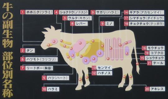 牛の副生物 部位別名称