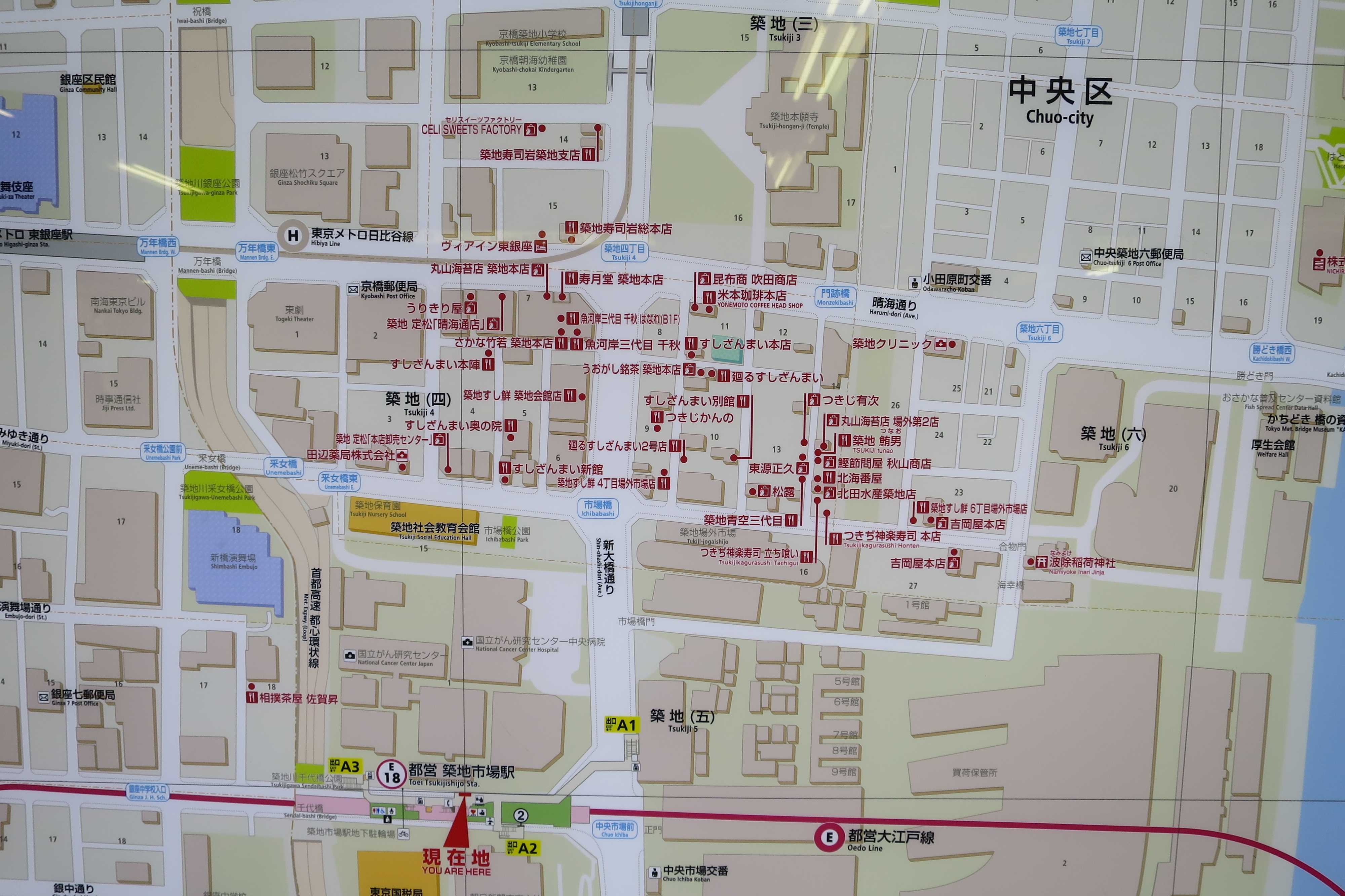 築地エリア - 大江戸線 築地市場駅 周辺地図(周辺マップ)