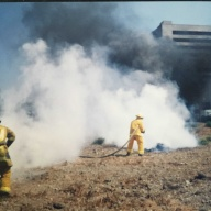 The fire extinguishing agent (PyroCap) after the exhibition survey in in Anaheim, California.