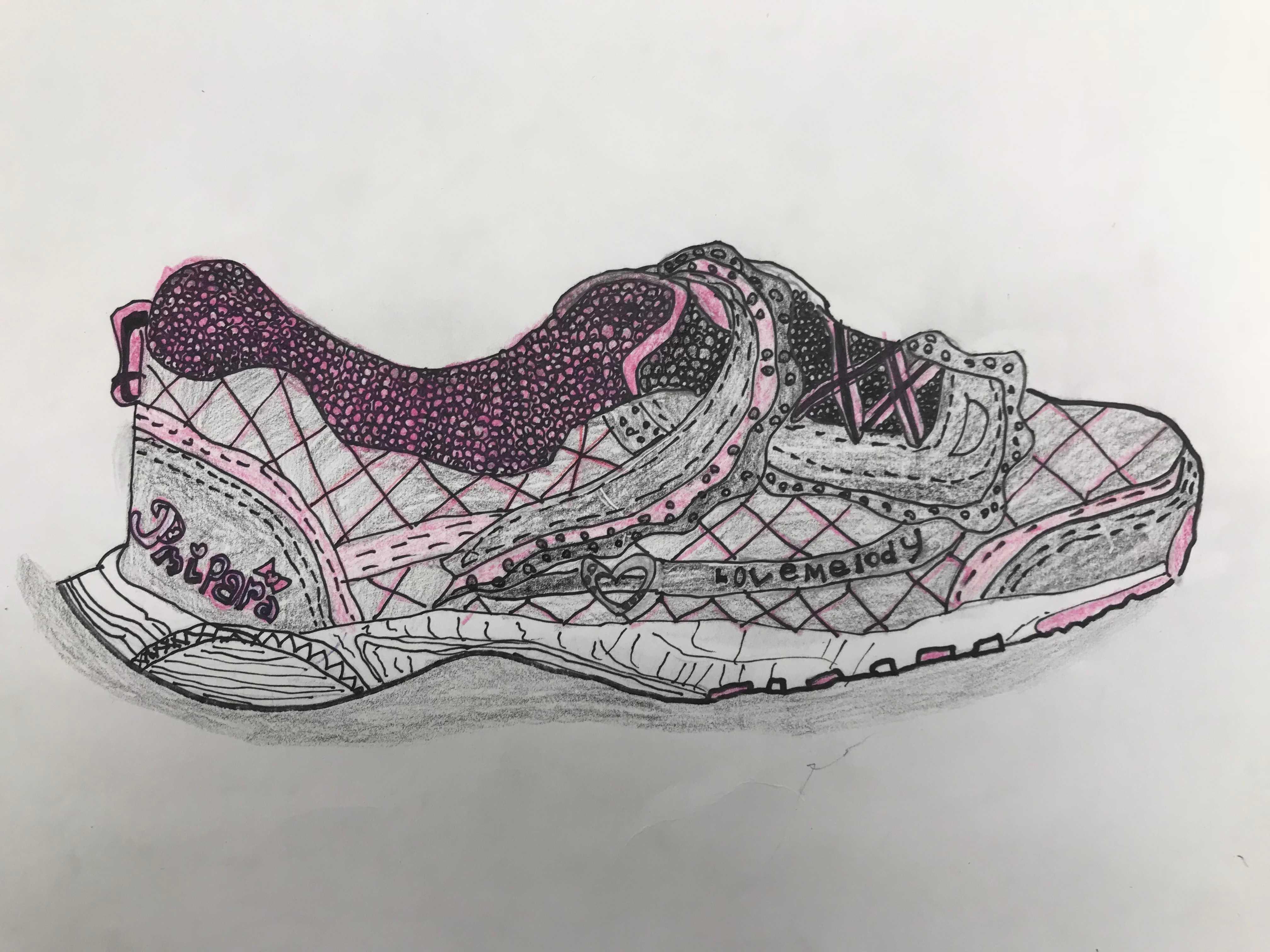 図工「自分の靴の絵」を描く