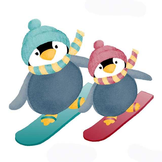 ペンギン,ペアー,スノーボード,ウィンタースポーツ,冬,高塚由子,Yoshiko,Taaktsuka,水彩画,Watercolor,イラスト