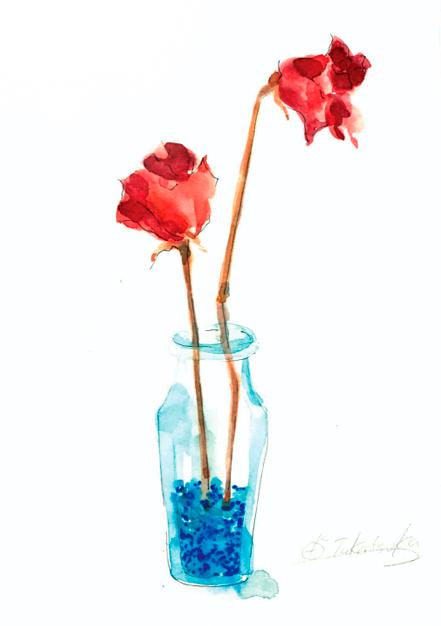 ドライフラワー,芳香剤,バラ,瓶,高塚由子,Yoshiko,Taaktsuka,水彩画,Watercolor,イラスト