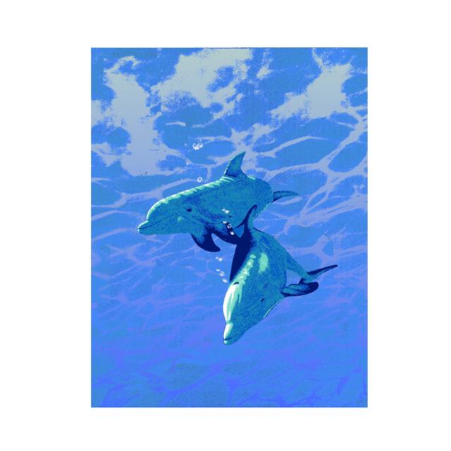 仕事絵,イルカ,海の日,海,太陽,イラスト