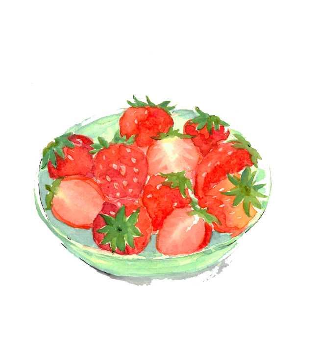 イチゴ,トチオトメ,果物,フルーツ,水彩画,イラスト,素材,食材