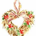 季節はずれの水彩画 クリスマスリース缶 高塚由子の水彩画 魔法の筆