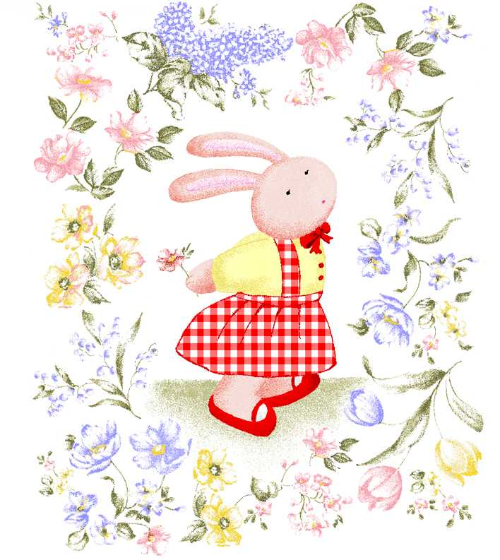 ウサギ,花,動物,イラスト