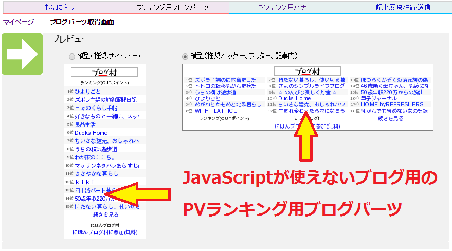 JavaScriptが使えないブログ用のブログパーツ